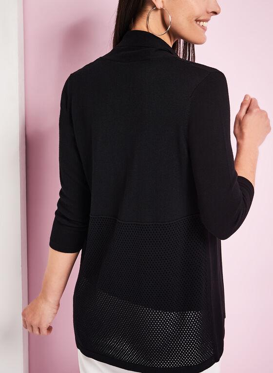 3/4 Sleeve Pointelle Cardigan, Black, hi-res