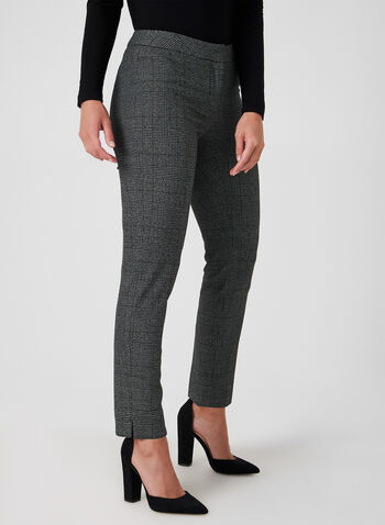 Modern Fit Plaid Pants, Black,  Pants, Modern Fit, straight leg, ankle, plaid, Prince of Wales, fall 2019, winter 2019