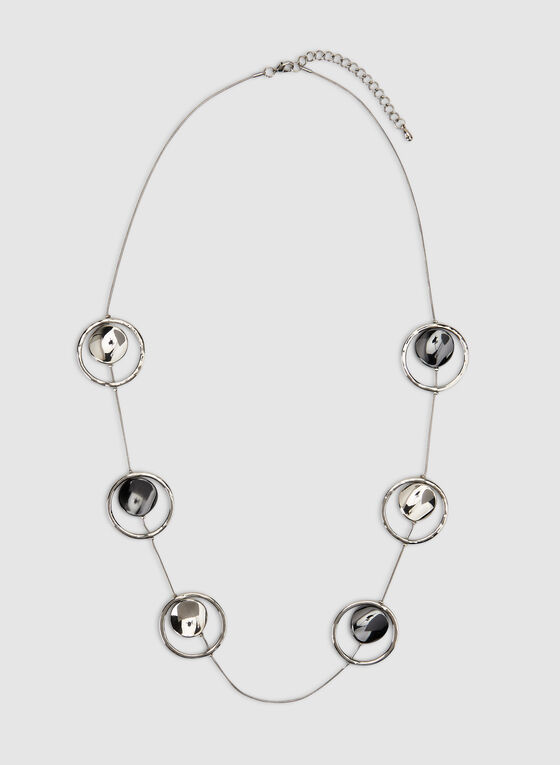 Long Hammered Discs Necklace, Silver