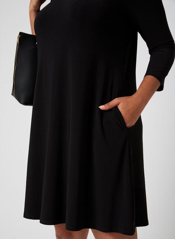 Nina Leonard - Robe en jersey à encolure lacée, Noir, hi-res