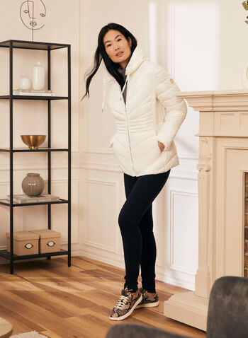 Bernardo - Recycled EcoPlume™ Packable Coat, White,  winter coat, coat, raincoat, transition coat, packable coat, hooded coat, light coat, Bernardo, fall winter 2020, plastic water bottles, recycled, recycled polyester, recycled plastic