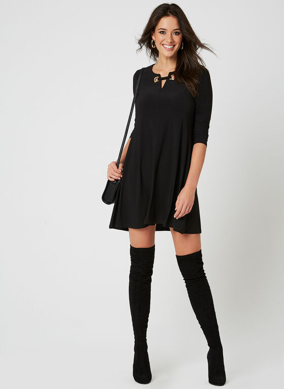 Nina Leonard - Lace Up Dress, Black, hi-res