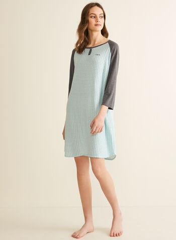 Comfort & Co. - Chemise de nuit à motif, Bleu,  printemps été 2020, pyjama, chemise de nuit, Comfort & Co