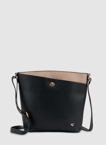 Crossbody Handbag, Black,  fall winter 2019, two tone, zipper top, crossbody