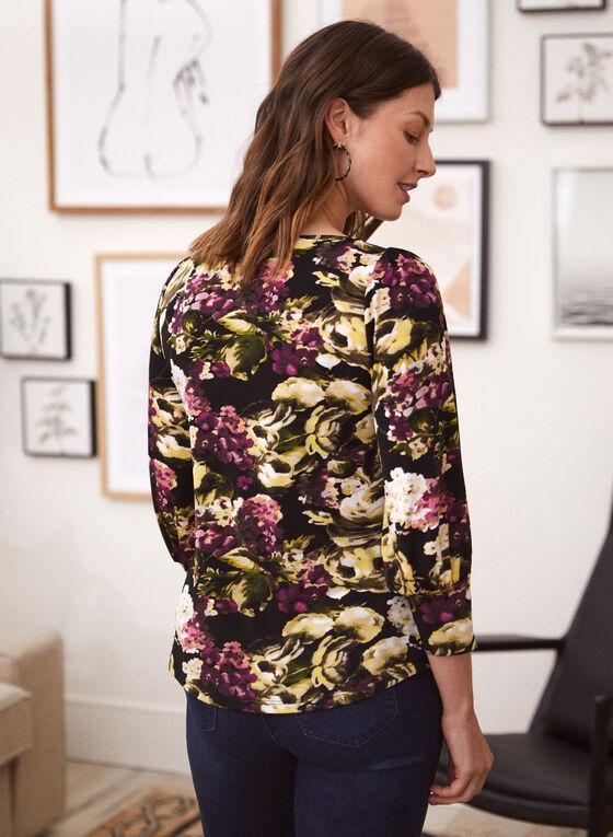 Floral Print Top, Black