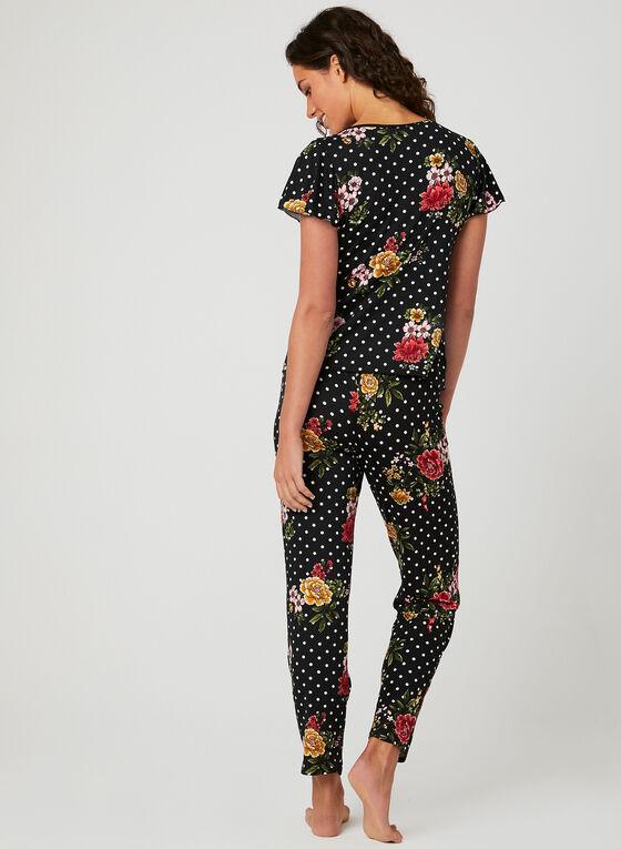 Pyjama deux pièces à fleurs et pois , Rouge, hi-res
