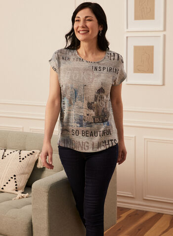 Text Print Tee, Grey,  spring summer 2021, t-shirts, t shirts, city, sketch, doodle, round neck, crew neck, embellished,