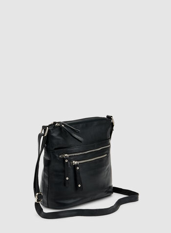 Genuine Leather Crossbody Bag, Black, hi-res