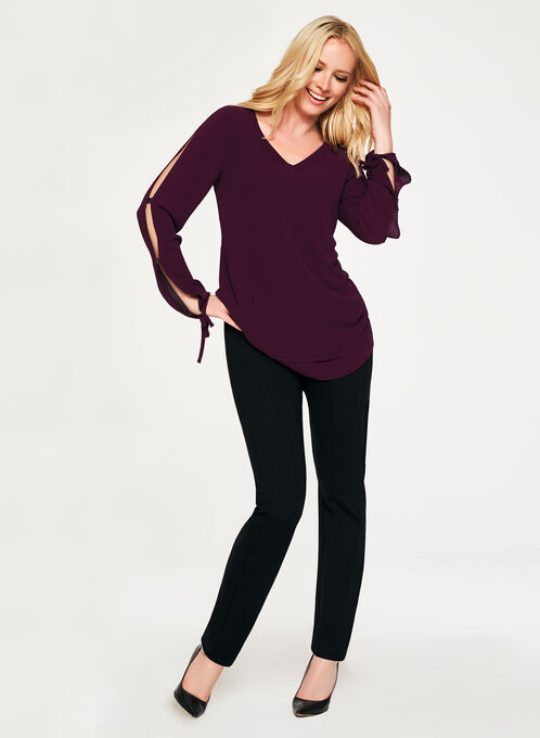 Long Sleeve Crepe Blouse , Purple, hi-res