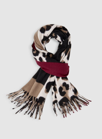 Animal & Abstract Print Scarf, Black,  fringe, soft, animal, exotic, patchwork, abstract, scarf, leopard, print, fall 2019, winter 2019