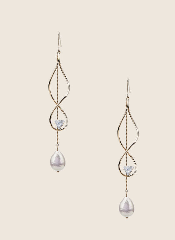 Helix & Pearl Dangle Earrings, Gold