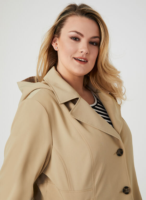 Hooded Button Down Coat, Brown