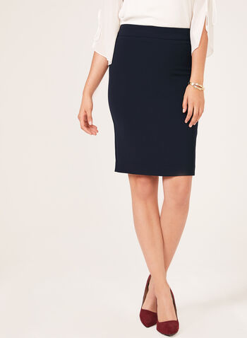 Back Slit Straight Skirt, Blue, hi-res
