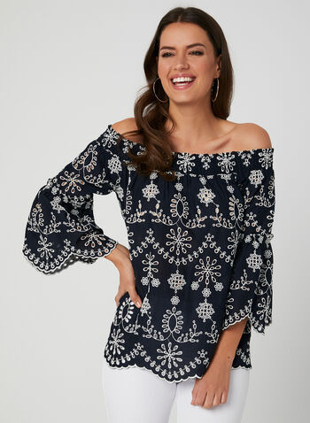 Off-the-Shoulder Blouse, Blue, hi-res