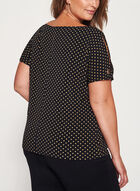 Dot Print Split Sleeve Top, Black, hi-res