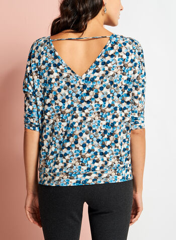 Side Tie Dot Print Top , , hi-res
