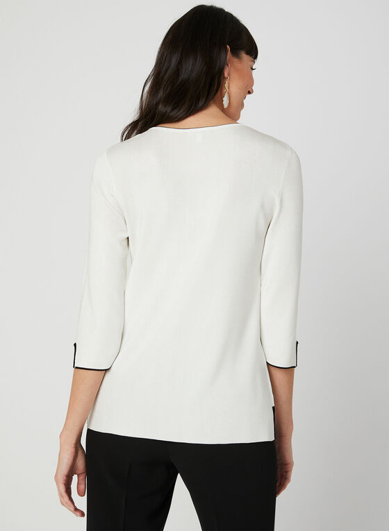 ¾ Sleeve Sweater, White, hi-res