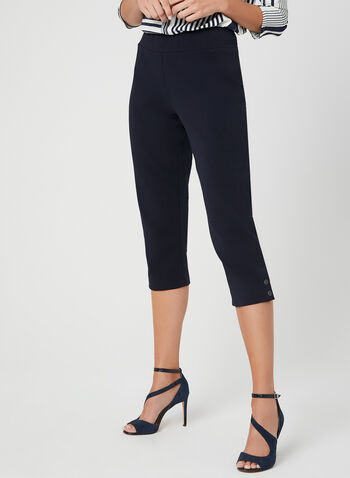 Pull-On Capri Pants, Blue, hi-res,  button details, cotton, spring 2019