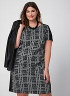 Plaid Short Sleeve Dress, Black, hi-res