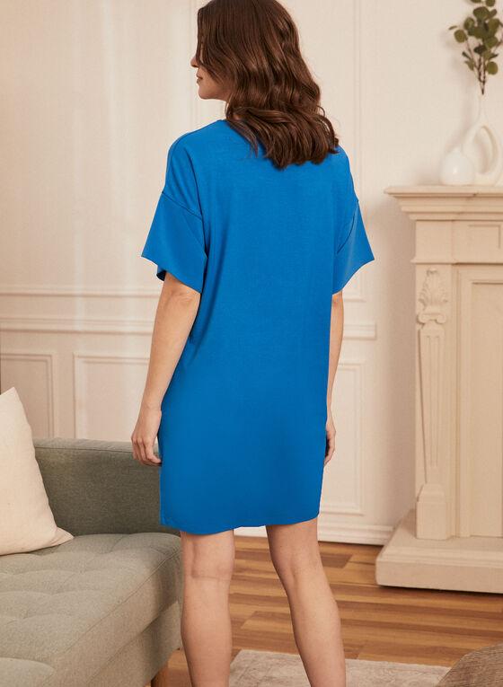 Robe t-shirt à épaules tombantes, Bleu