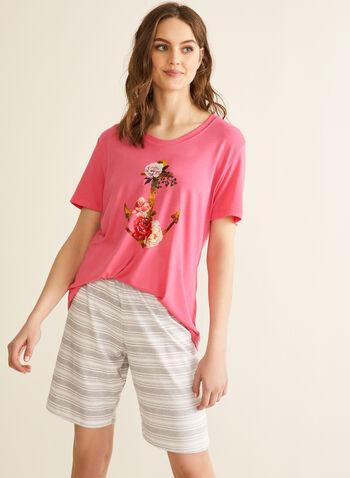 Claudel Lingerie - Pyjama à imprimé nautique, Rose,  printemps été 2020, pyjama, ensemble, Claudel Lingerie
