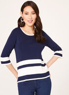 Striped Fine Knit Sweater, Blue, hi-res