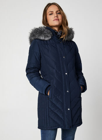 Faux Fur Down Coat, Blue,  coat, winter coat, faux fur, faux fur coat, removable hood, hooded coat, quilt coat, chevron quilt, fall 2019, winter 2019