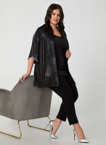 Frank Lyman - Rhinestone Trim Top, Black,  online exclusive, made in Canada, Frank Lyman, open front, 3/4 sleeves, angel sleeves, rhinestones, fall 2019, winter 2019