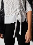 ¾ Sleeve Metallic Top, Grey