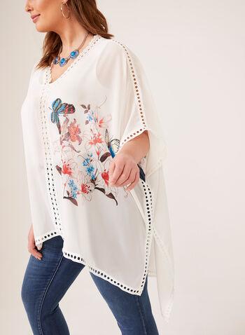 Lindi - Blouse poncho en mousseline et détails crochet, Blanc, hi-res