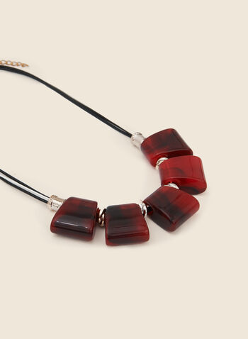 Resin Stone Necklace, Red,  necklace, stone, resin, rectangle, cord, fall winter 2020