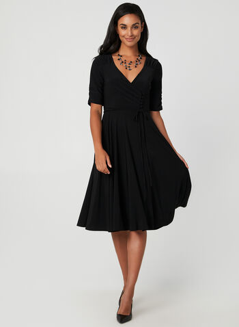 Fit & Flare Jersey Dress, Black, hi-res,  Fall winter 2019, jersey, fit & flare, long sleeves