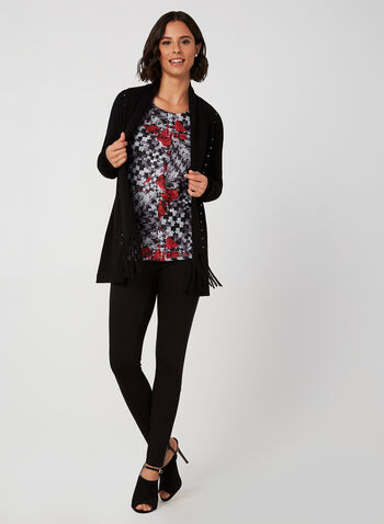 Vex - Houndstooth & floral Print Top, Red, hi-res,  Vex, top, long sleeves, houndstooth, floral, rhinestones, fall 2019, winter 2019