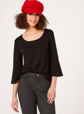 Linea Domani - ¾ Bell Sleeve Top, Black, hi-res