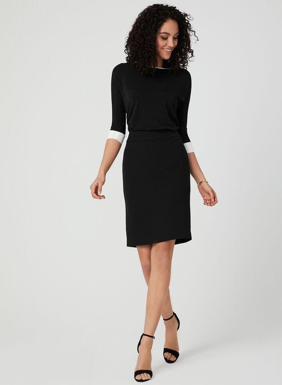 ¾ Sleeve Contrast Trim Top, Black, hi-res