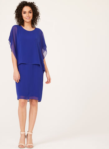 Chiffon Poncho Dress , Blue, hi-res