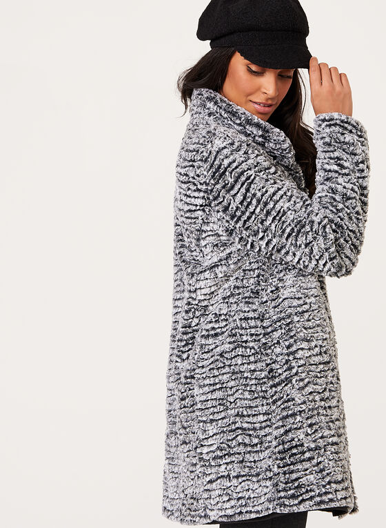 Novelti-Faux Fur Reversible Coat , Black, hi-res