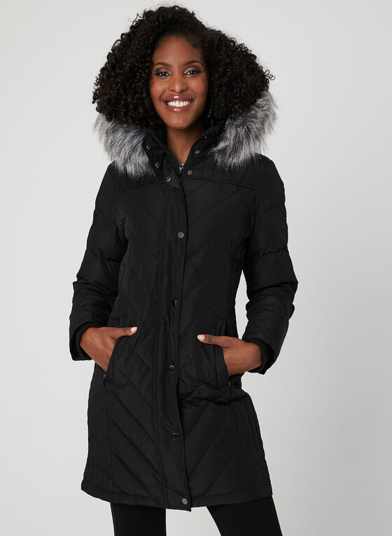 Hooded Down Coat, Black