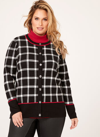 Plaid Double Knit Cardigan, Black, hi-res