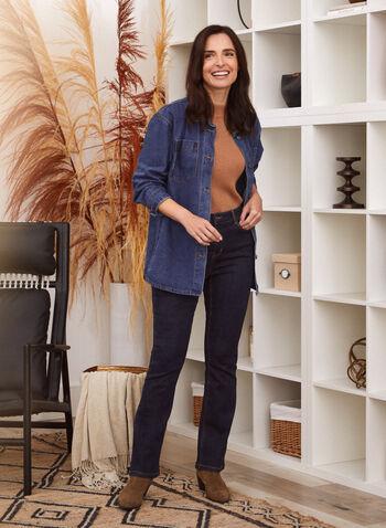 Long Sleeve Denim Shirt, Blue,  fall 2021, shirt, top, blouse, denim, jean, gg jeans, button up, button front, shirt collar, long sleeves, chest pockets, patch pocket, stretch, GG jeans