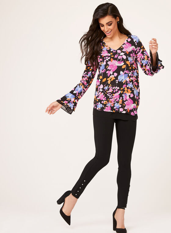 Bell Sleeve Floral Print Chiffon Blouse, Multi, hi-res