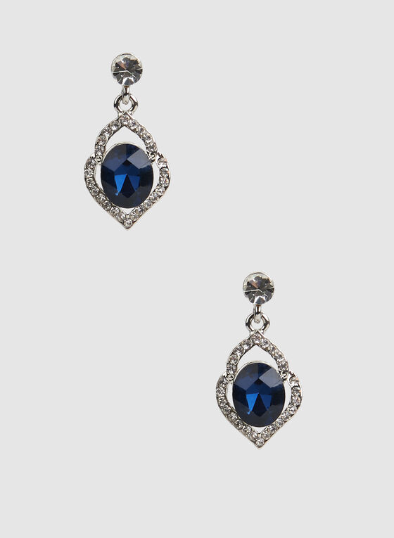 Stone Insert Glass Oval Earrings, Blue