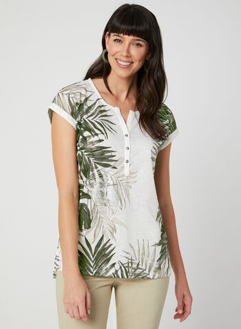 Leaf Print T-Shirt, White,  tee-shirt, t-shirt, linen top, leaf print, palm leaves, palm leaf print, spring summer 2019