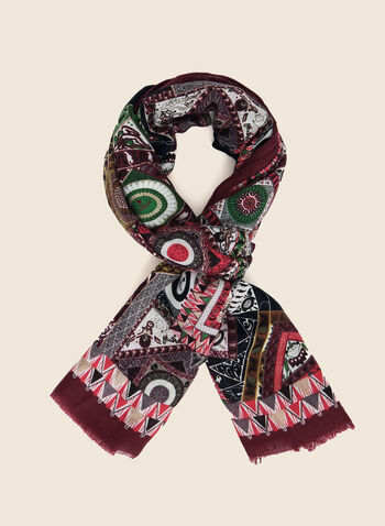 Geometric Print Lightweight Scarf, Red,  scarf, lightweight, geometric print, fringe, fall winter 2020