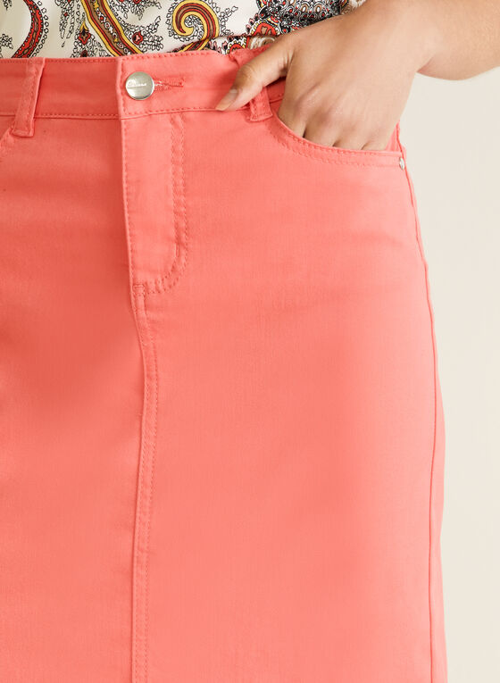 Blossom - Denim Straight Skirt, Orange