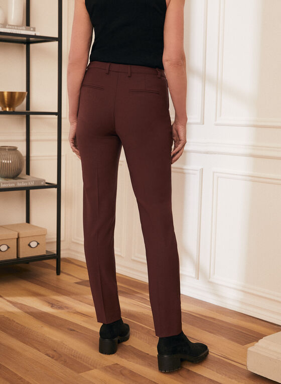 Pantalon à jambe droite et plis, Rouge