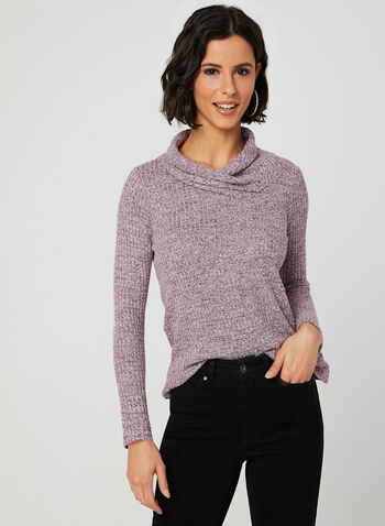 Knit Cowl Neck Top, Multi, hi-res
