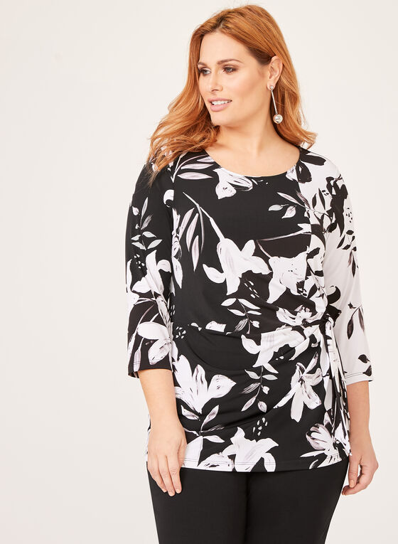 ¾ Sleeve Floral Top, Black, hi-res