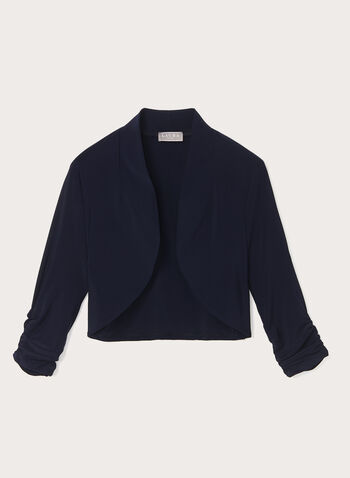 Shirred Sleeve Open Front Bolero, Blue, hi-res