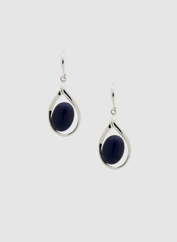 Boucles d'oreilles à pendants gouttes d'eau, Bleu, hi-res